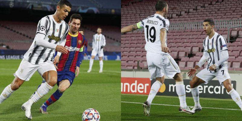 Messi bất lực trước tình huống phòng ngự của Ronaldo